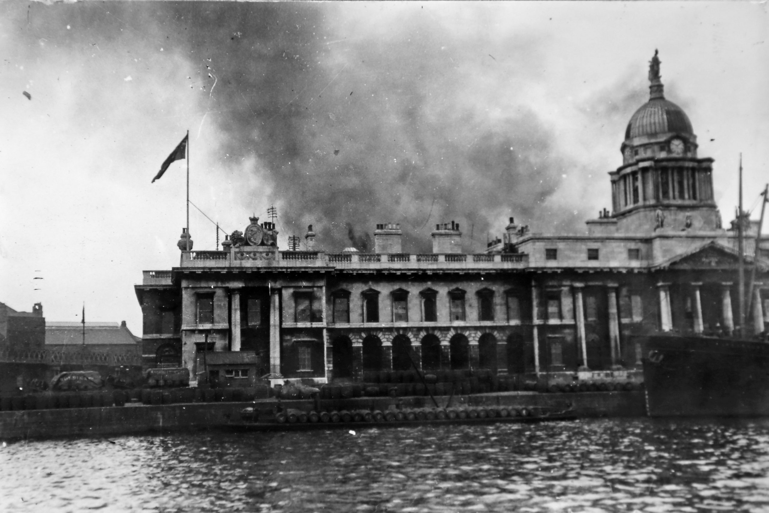 Custom House burning after the battle.