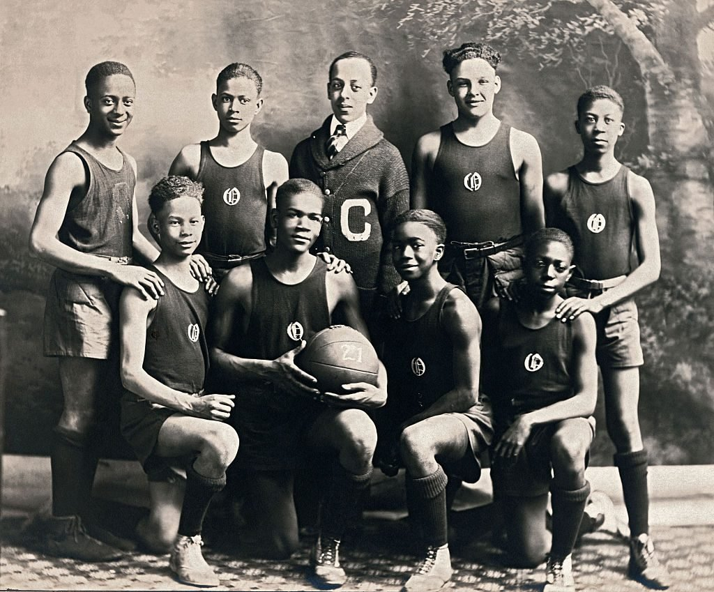 Team photo of African American basketball team at Oliver High School