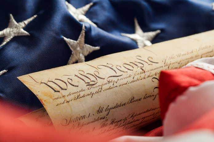 The American Constitution on American Flag