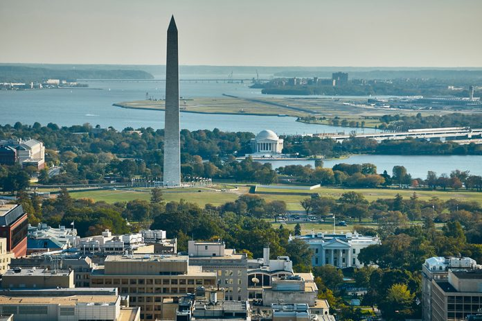 USA, Aerial photograph of Washington, D.C. showing The White House, Washington Monument, Jefferson Memorial, Potomac River and National Airport