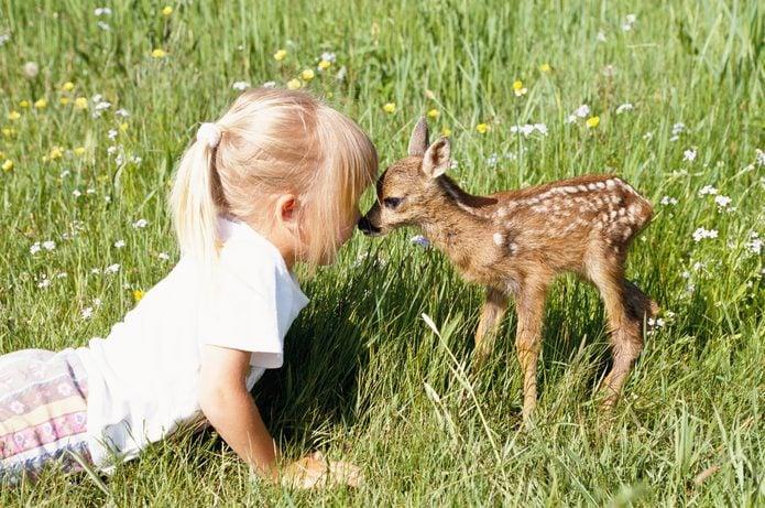 A little girl kissing a fawn.
