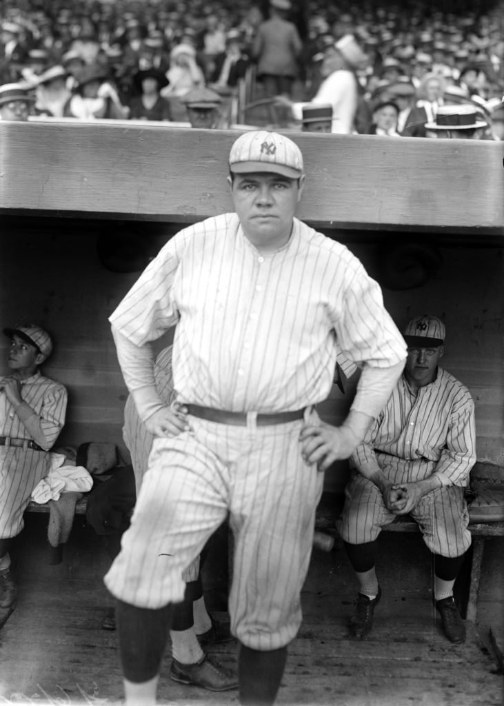 Babe Ruth in Uniform at the Yankees stadium