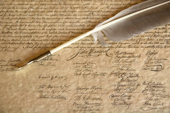 Signatures on Declaration of Independence