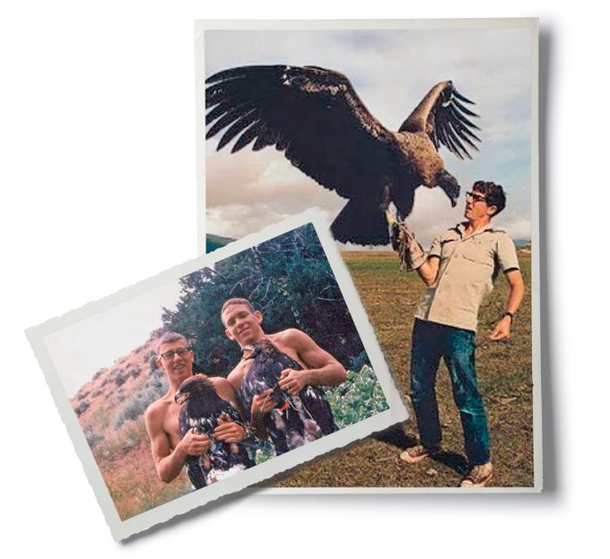 Jerry holding his Andean condor (left) and golden eagle (right)