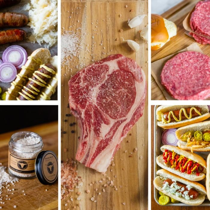 collage of different meats and spices perfect for a grill