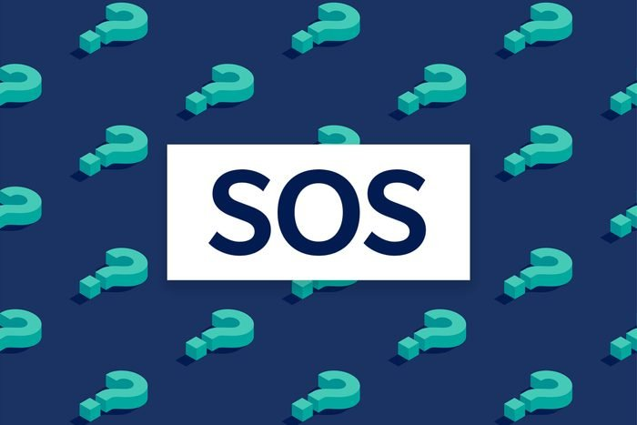 SOS text over question mark background