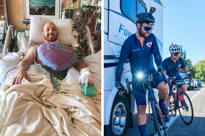 Left: Mike recovering from the operation. Right: Mike and Seton (left) on the road beside the RV that trailed them.