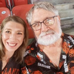 Marla Zwinggi with her father, David Komocki, at a Cleveland Browns game