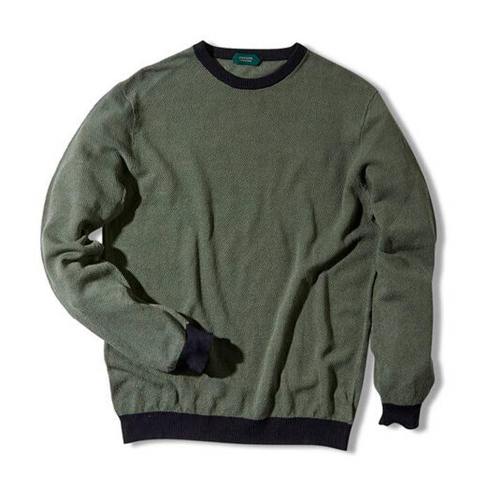 Zanone Slim Fit Linen Colour Contrast Cotton Crewneck Sweater