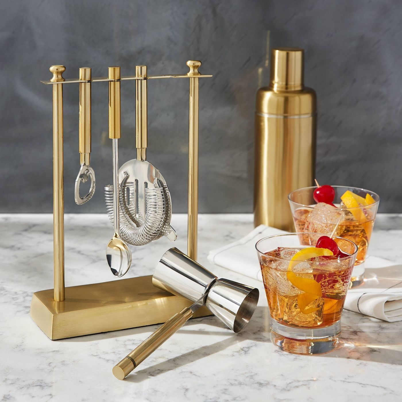 Project 62 Bar Tool Set With Gold Stand
