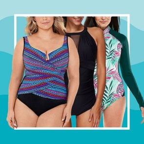 Best Bathing Suits For Every Body Type collage of three women
