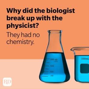 Beakers with blue liquid on orange background