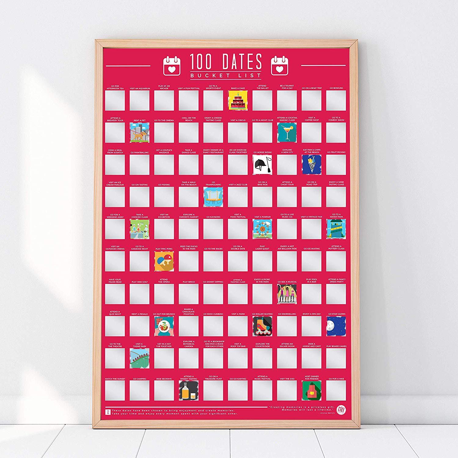 Gift Republic 100 Dates Bucket List Scratch Poster