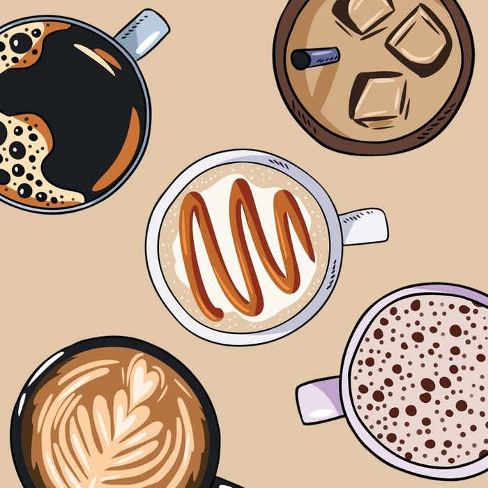 five cups of specialty coffee illustrated on taupe background
