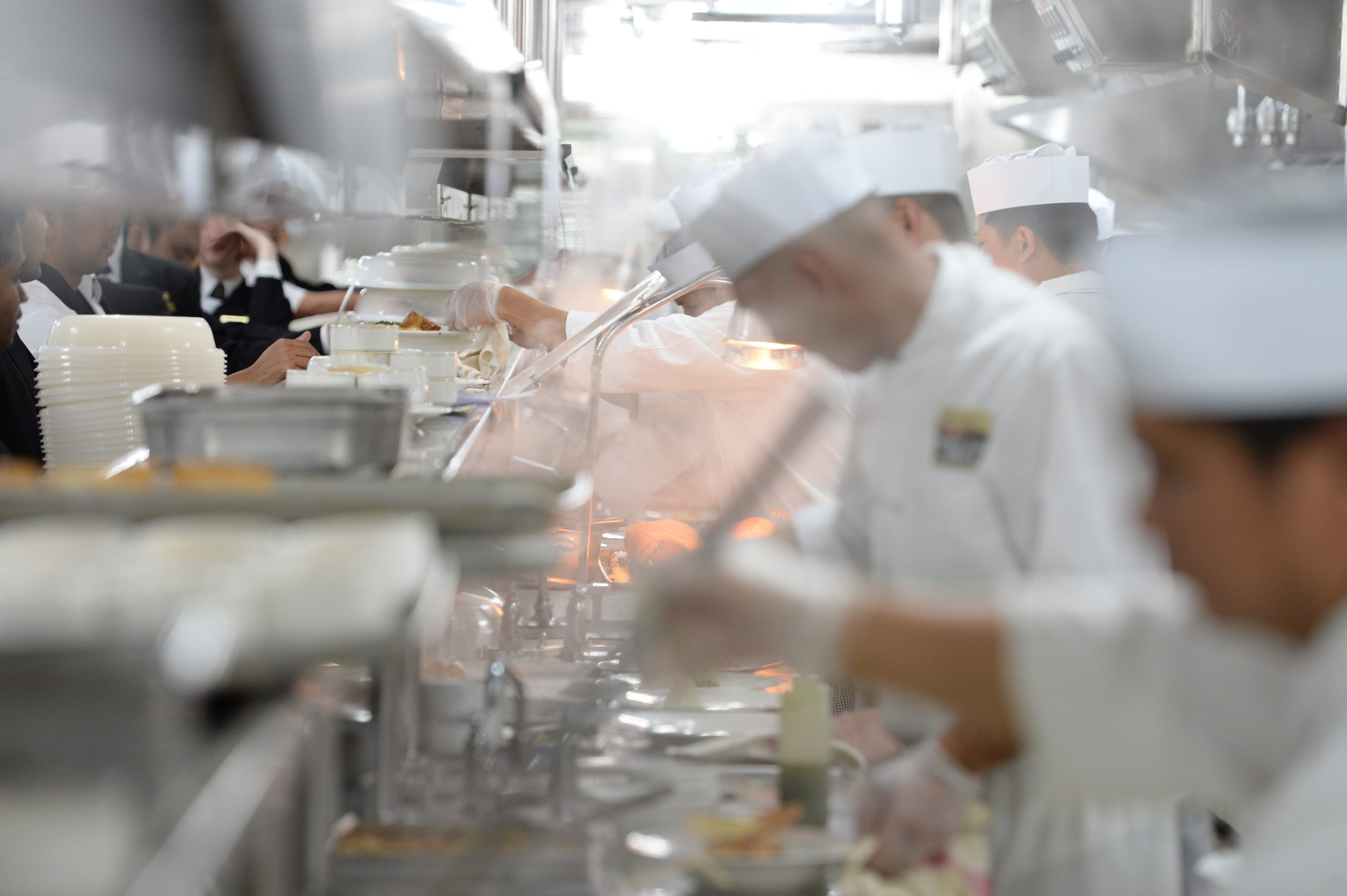 chefs in the galley on a cruise ship