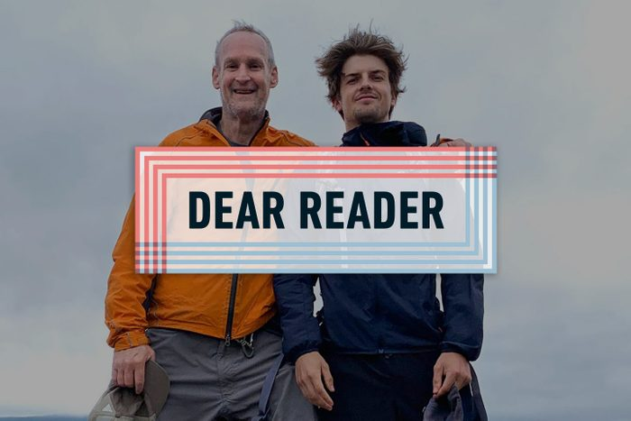 """""""dear reader"""" banner over photo of two men on a hike"""