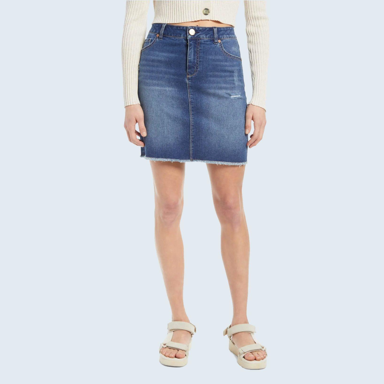 Denim Fray Hem Skirt from 1822 Denim