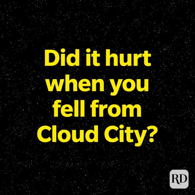 Did It Hurt When You Fell From Cloud City star wars pun