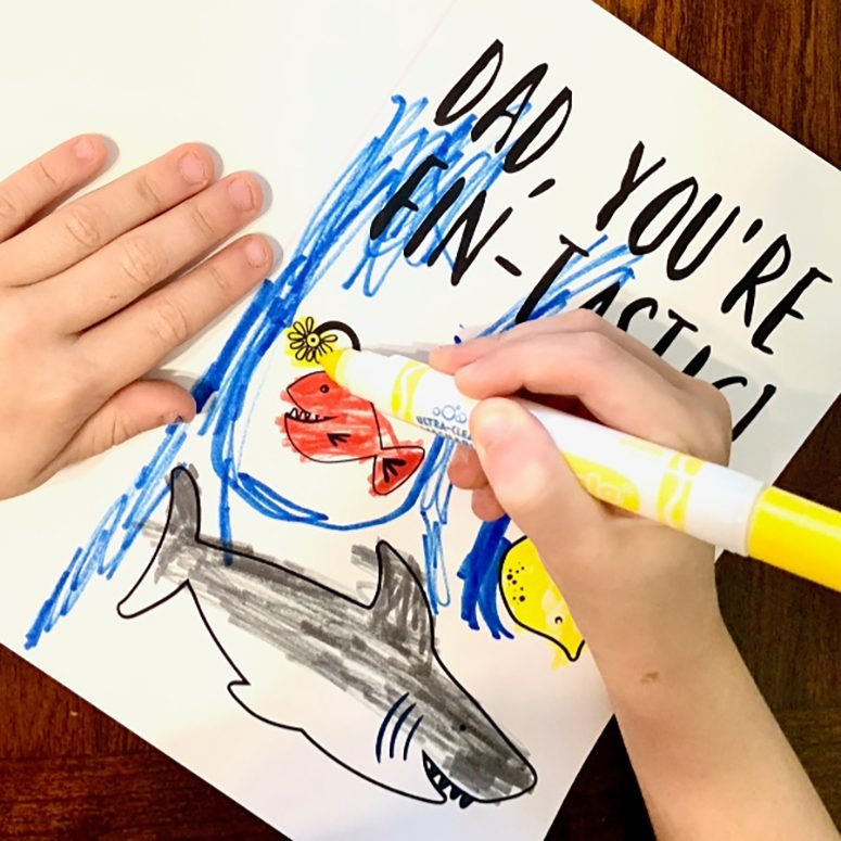 Fathers Day coloring card for kids