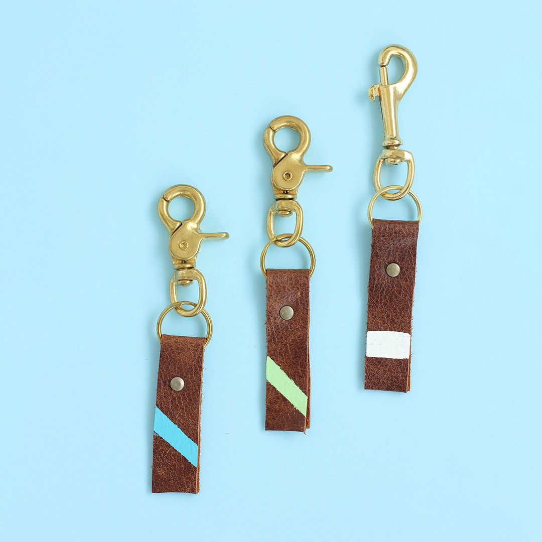 Modern leather keychain for Dad