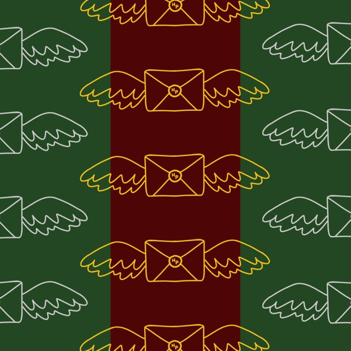 Harry Potter envelopes with flying wings on garnet and green background