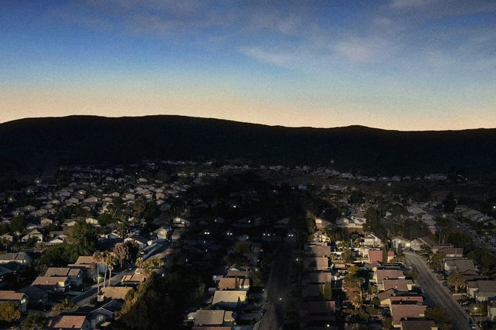 View looking down on suburb at dusk