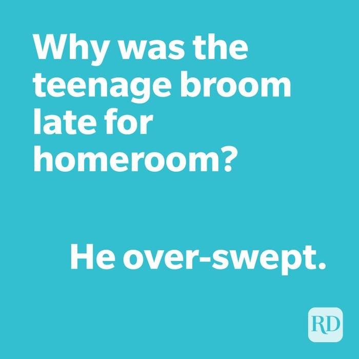 Broom joke on blue