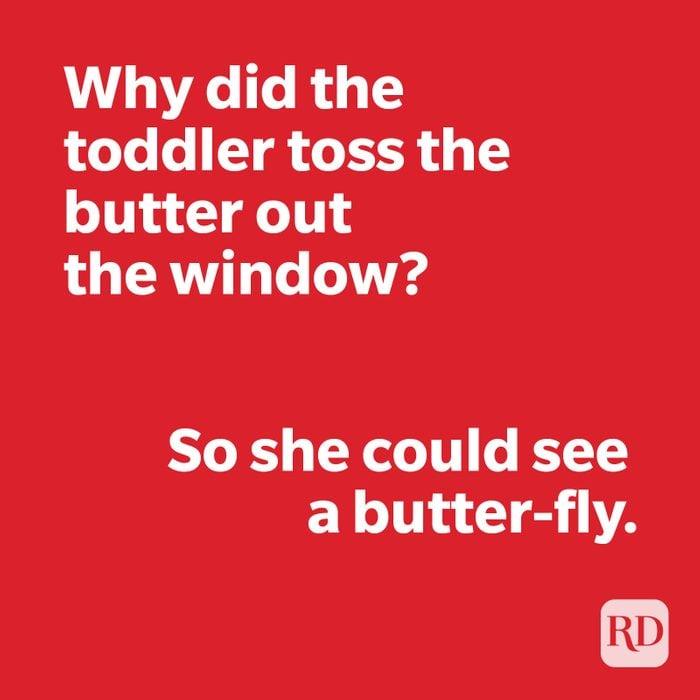 Butterfly joke on red