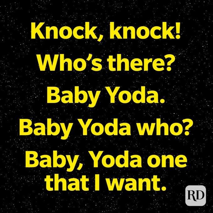 Knock Knock Baby Yoda One I Want star wars pun