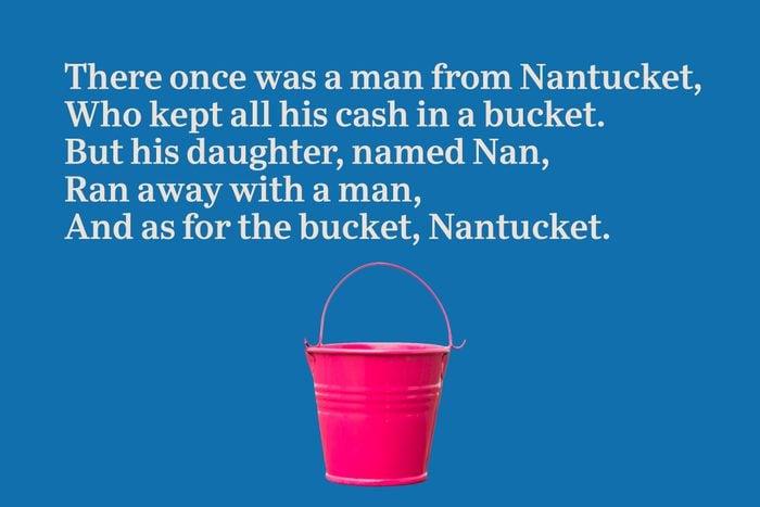 Pink bucket on blue background