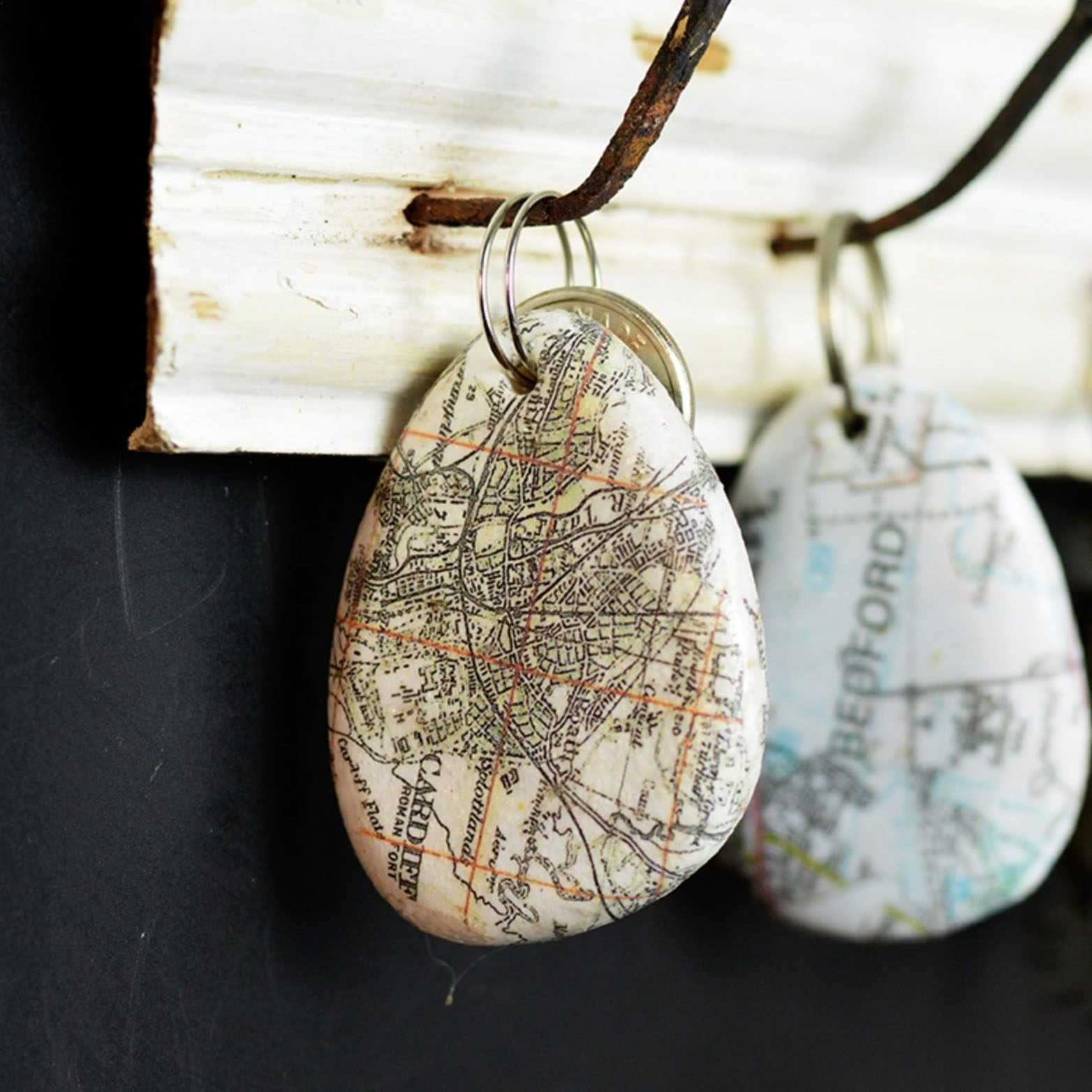 Map rock keychain for Dad