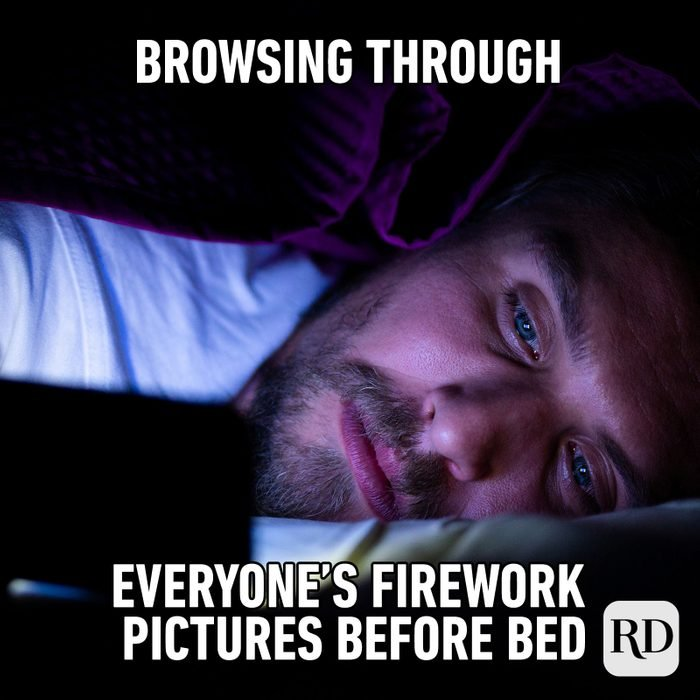 Meme text: Browsing through everyone's firework pictures before bed