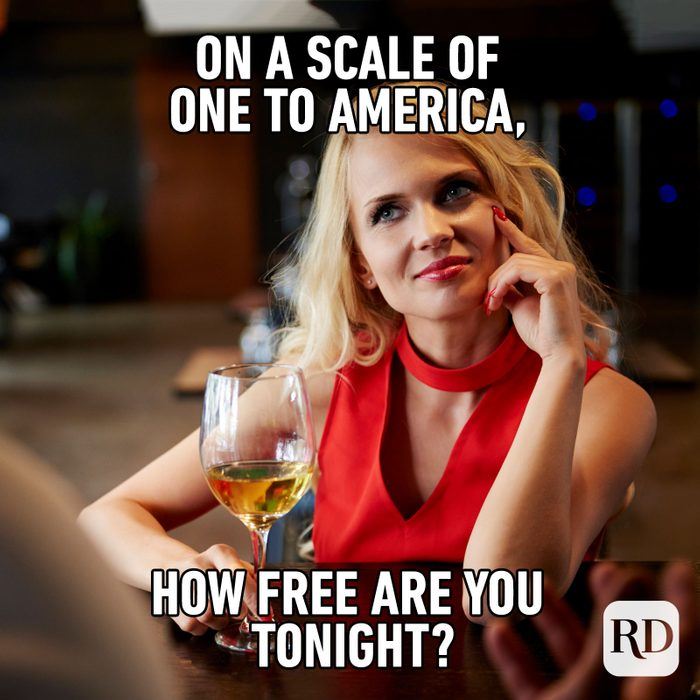 Meme text: On a scale of one to America, how free are you tonight?