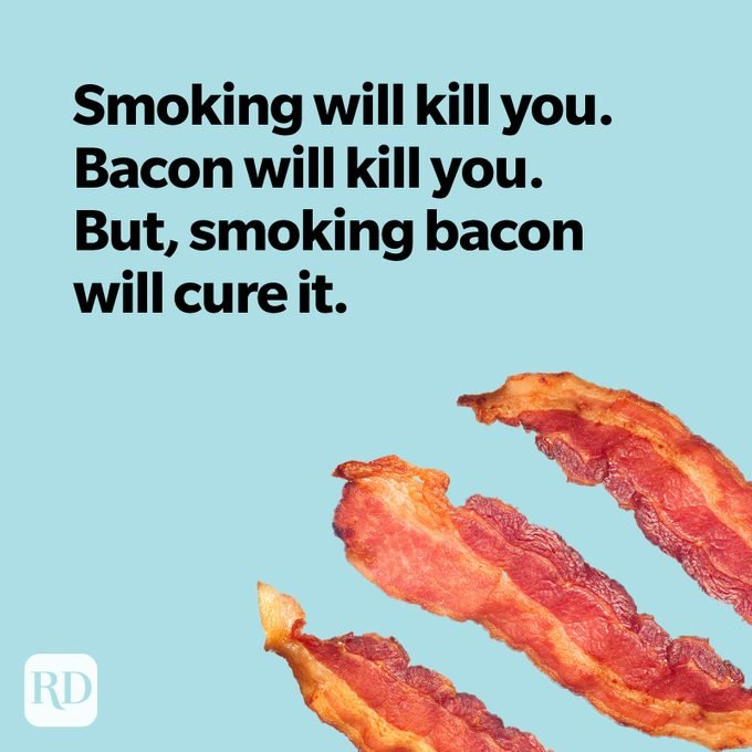 Bacon on light blue background