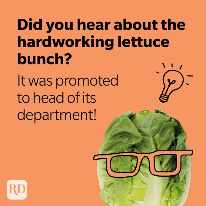 Head of lettuce wearing glasses with lightbulb over head