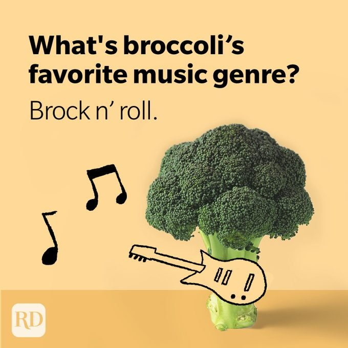 Broccoli stalk playing guitar with music notes
