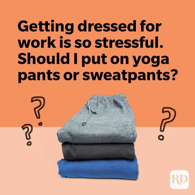 Stack of yoga pants and sweatpants with question marks