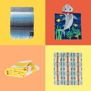 4 beach towels on colored backgrounds