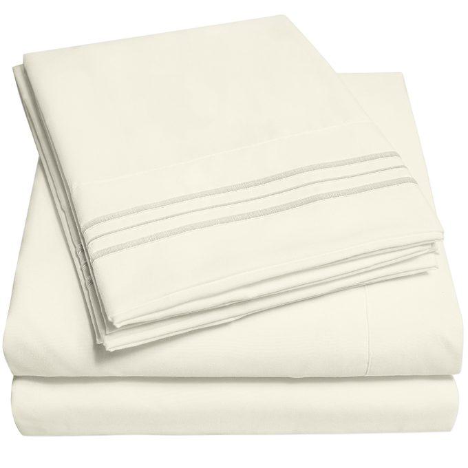 1800 Thread Count 4 Piece Deep Pocket Bedroom Bed Sheet Set