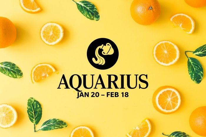 Aquarius symbol and dates over summery background