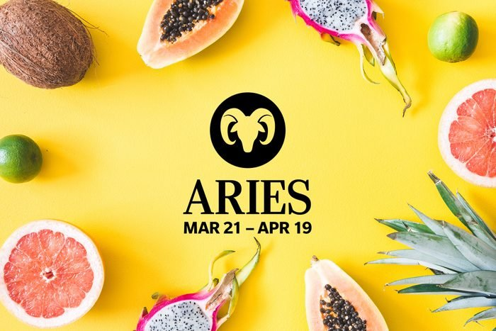 Aries symbol and dates over summery background