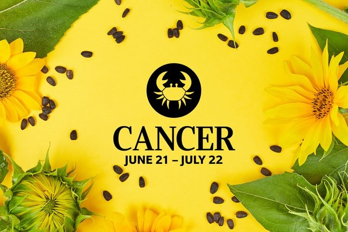 Cancer symbol and dates over summery background