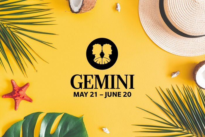 Gemini symbol and dates over summery background