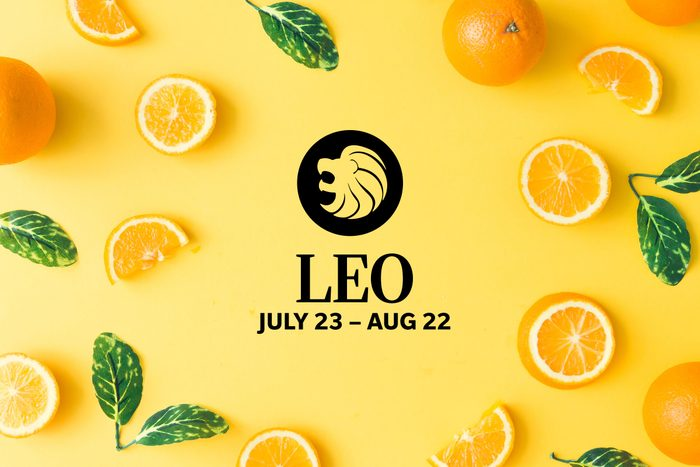 Leo symbol and dates over summery background