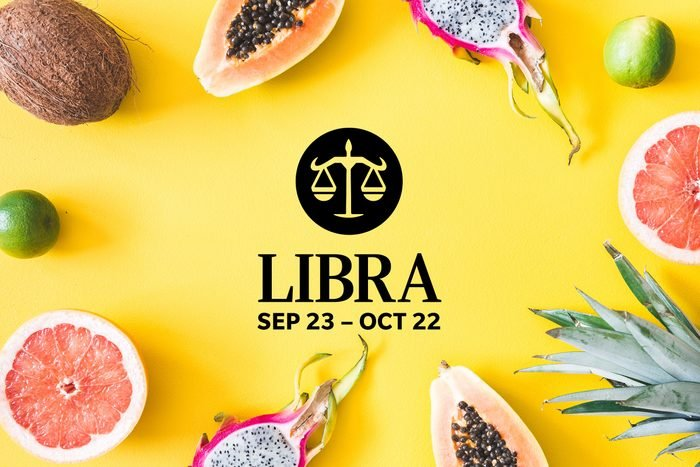 Libra symbol and dates over summery background
