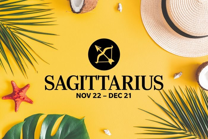 Sagittarius symbol and dates over summery background