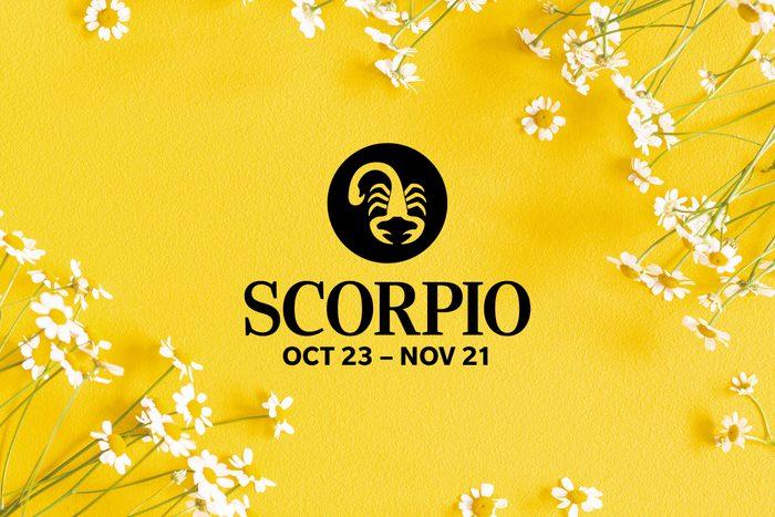 Scorpio symbol and dates over summery background
