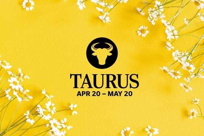 Taurus symbol and dates over summery background