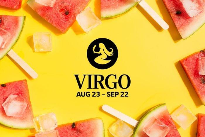 Virgo symbol and dates over summery background