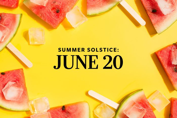 2021 Summer Solstice Date on summery background